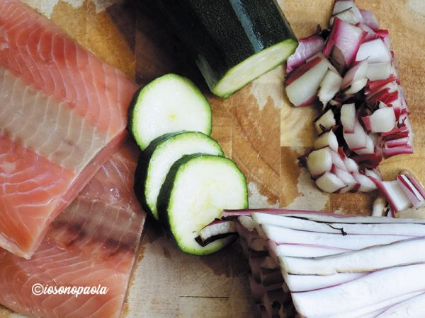 risotto di salmone e zucchine