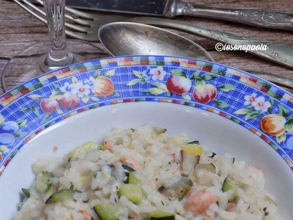 risotto con salmone, radicchio e zucchine